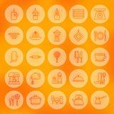 Linea cerchio che cucina le icone dell'utensile e dell'alimento messe Fotografie Stock Libere da Diritti
