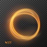 Linea cerchio di effetto della luce di vettore dell'oro Traccia leggera d'ardore dell'anello del fuoco Effetto magico della tracc Immagini Stock Libere da Diritti
