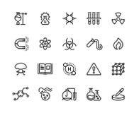 Linea chimica icone Prodotti chimici tossici, attrezzatura di laboratorio, formula molecolare di ricerca scientifica Simboli scie illustrazione di stock