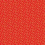 Linea cinese senza cuciture dorata fondo della geometria dell'incrocio dei trafori della finestra del modello Immagini Stock