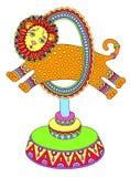 Linea colorata disegno del tema del circo - un leone di arte Fotografia Stock