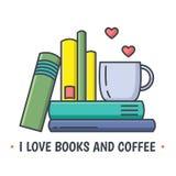 Linea colorata icona che mostra la pila di libro e tazza ceramica Fotografia Stock Libera da Diritti