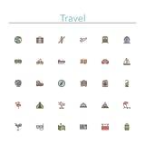 Linea colorata icone di viaggio illustrazione vettoriale