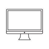 Linea computer dell'icona Fotografia Stock