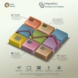 Linea concetto del fondo di Infographic del grafico Fotografie Stock