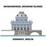 Linea concetto della Germania, Berlino, isola di museo dell'icona Segno piano di vettore della Germania, Berlino, isola di museo, Immagini Stock