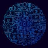 Linea concetto di Bitcoin del cerchio dell'icona Fotografia Stock Libera da Diritti