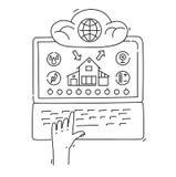Linea concetto di progetto di stile della casa intelligente, infrastruttura di rete, collegante tutto Immagini Stock