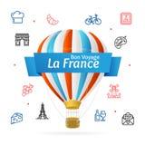 Linea concetto e aria calda del modello di progettazione della Francia di benvenuto dell'icona in cielo Vettore Fotografia Stock Libera da Diritti