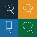 Linea concettuale astratta icone di vettore di chiacchierata di cellulare, bocca, hea Fotografia Stock Libera da Diritti
