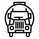 Linea concreta icona del camion Illustrazione di vettore del camion del miscelatore isolata su bianco Progettazione di stile del  royalty illustrazione gratis