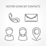 Linea contatti delle icone di vettore dell'insieme royalty illustrazione gratis