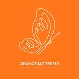 Linea continua linea di bianco uno della farfalla che attinge fondo arancio royalty illustrazione gratis