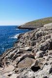 Linea costiera con gli stagni del sale alla grotta blu, Malta Fotografie Stock