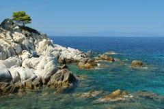 Linea costiera con le pietre bianche Fotografie Stock