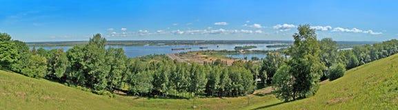 Linea costiera del fiume di Volga in Nizhny Novgorod - pano Fotografia Stock