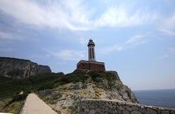 Linea costiera dell'isola di Capri, Capri, Italia Fotografia Stock