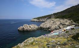 Linea costiera dell'isola di Capri, Capri, Italia Fotografia Stock Libera da Diritti