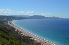 Linea costiera dell'isola di Rodi Fotografia Stock Libera da Diritti