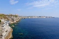 Linea costiera di Bonifacio, Corsica Immagini Stock