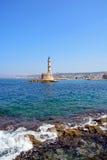Linea costiera di Chania e faro, Creta Fotografia Stock Libera da Diritti