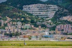 Linea costiera di Genova e spiaggia, Pegli fotografia stock libera da diritti