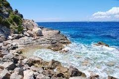 Linea costiera di Lakka, Paxos Fotografia Stock Libera da Diritti