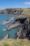 Linea costiera di Lingua gallese fotografie stock libere da diritti