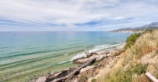 Linea costiera di Makrygialos Fotografia Stock Libera da Diritti