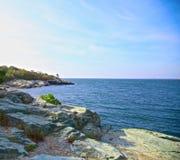 Linea costiera di Newport del faro Immagini Stock Libere da Diritti