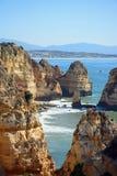 Linea costiera di Ponta da Piedade, Portogallo Fotografia Stock