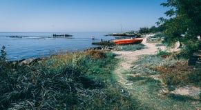 Linea costiera e spiagge in Ochakov, Ucraina immagini stock libere da diritti