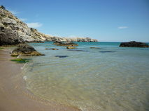 Linea costiera e spiaggia Rodi, Grecia, isole greche Fotografie Stock