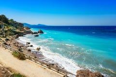 Linea costiera egea della città di Rhodes Rhodes, Grecia Fotografia Stock