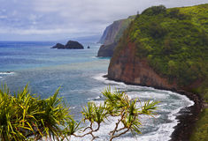 Linea costiera a Kohala del nord, grande isola, Hawai dell'allerta di Pololu Immagine Stock
