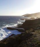Linea costiera nera rocciosa della lava su Oahu Fotografia Stock Libera da Diritti