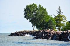 Linea costiera rocciosa del mare Fotografia Stock
