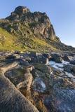 Linea costiera rocciosa sulle isole di Lofoten, Norvegia Immagini Stock Libere da Diritti