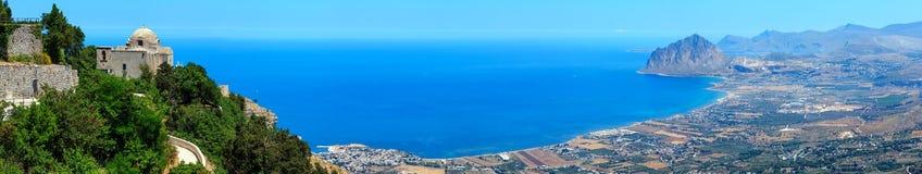 Linea costiera tirrena da Erice, Sicilia, Italia Immagine Stock Libera da Diritti