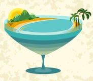 Linea costiera tropicale dell'isola ed il mare in un vetro Immagine Stock Libera da Diritti