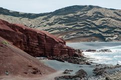 Linea costiera vulcanica di Lanzarote immagini stock libere da diritti