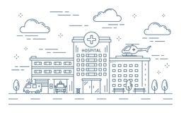 Linea costruzione dell'ospedale illustrazione vettoriale