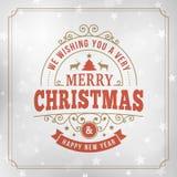 Linea d'annata fondo di Buon Natale della cartolina d'auguri di arte Fotografie Stock Libere da Diritti