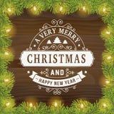 Linea d'annata fondo di Buon Natale della cartolina d'auguri di arte Fotografia Stock