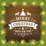 Linea d'annata fondo di Buon Natale della cartolina d'auguri di arte Fotografie Stock