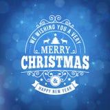 Linea d'annata fondo di Buon Natale della cartolina d'auguri di arte Fotografia Stock Libera da Diritti