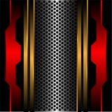 Linea d'argento astratta metallo rosso dell'oro della maglia del cerchio nel vettore futuristico moderno di struttura del fondo d Immagine Stock