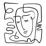 Linea d'avanguardia in bianco e nero disegnata a mano semplice arte del ritratto Composizione astratta illustrazione vettoriale