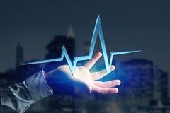 linea del battito cardiaco della rappresentazione 3d su un'interfaccia futuristica Immagine Stock Libera da Diritti