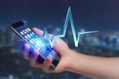 linea del battito cardiaco della rappresentazione 3d su un'interfaccia futuristica Immagini Stock